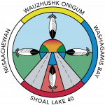"""The logo of the Niiwin Wendaanimok (Four Winds) Partnership, created by Terry Greene from Niisaachewan Anishinaabe Nation, represents the vision of the Niiwin Wendaanimok Partnership, deeply rooted in the Anishinaabe identity and Treaty rights. When asked to describe his logo, Terry said, """"Niiwin Wendaanimok means the Wind comes from four directions. The Highway is from West to East, so I moved the medicine wheel colours to reflect that. I made the road to symbolize our Anishinaabe path (red road). The smaller circle represents Treaty 3, with its sunrise, trees, and water. The feathers represent the four winds, the four directions, and the four communities."""