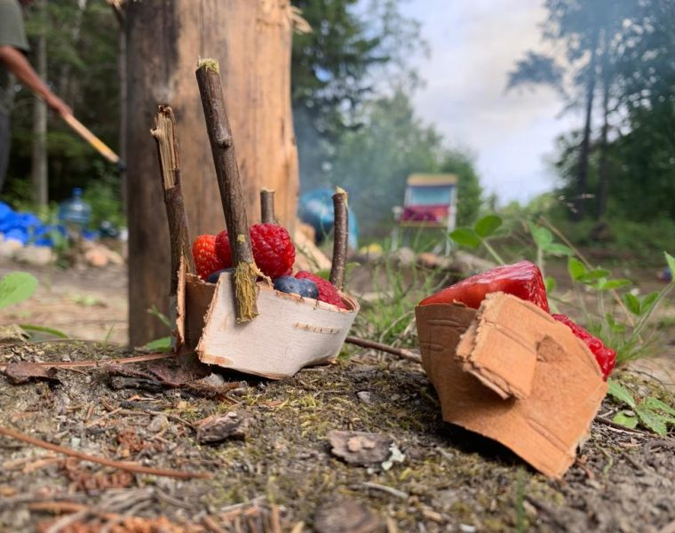Two small birch bark canoes filled with berries rest on the ground.
